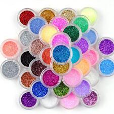 24 pcs Colors Sparkle Bright Glitter Powder Dust Acrylic UV Gel Nail Art Sets