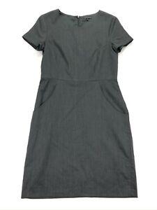 Theory-Women-039-s-Shift-Dress-Striped-Charcoal-Gray-Wool-Size-8