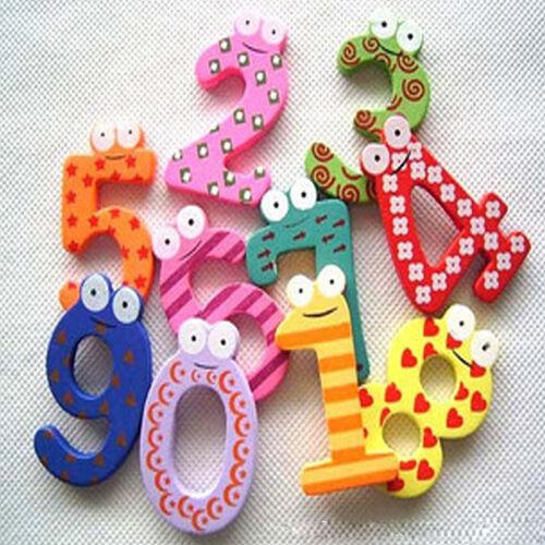 Hot Cartoon Cute 0-9 Wooden Number Fridge Magnet Kid Child Math Xmas Gift Toy