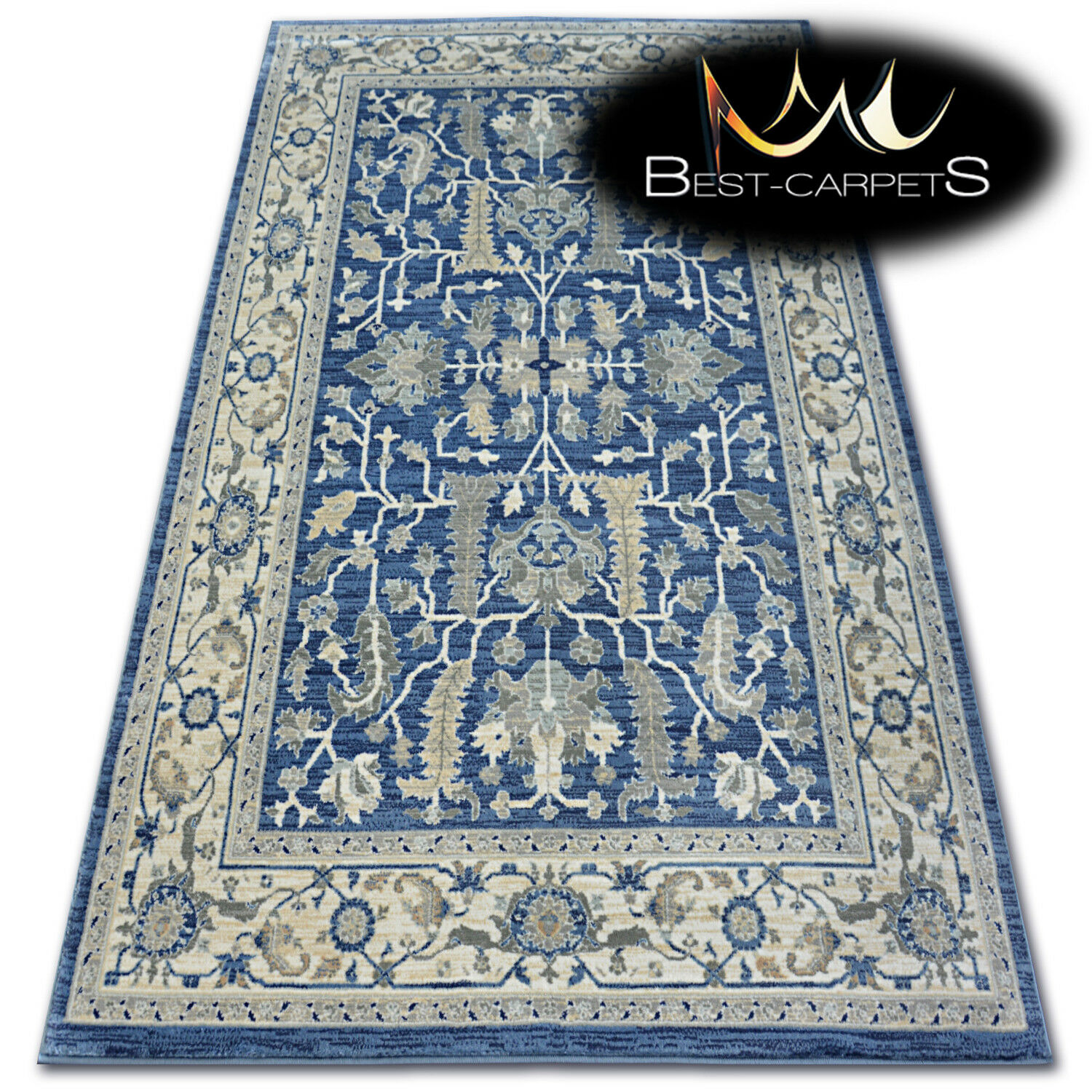 AMAZING THICK MODERN RUGS Silber W7039 Flowers Navy LARGE Größe BEST-CARPETS