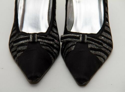 Jane Party Uk Tacco alto Shilton Shoes Eu39 Sliver 6 Sparkly Black Glittery HTrOH