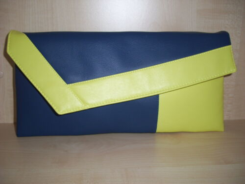 Handmade in the UK fully lined ROYAL BLUE /& YELLOW faux leather clutch bag BN