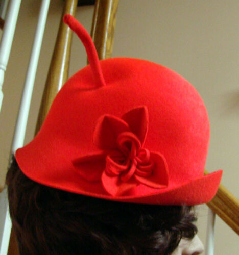 1960s Whimsical ADOLFO II Coral Wool Felt Hat with