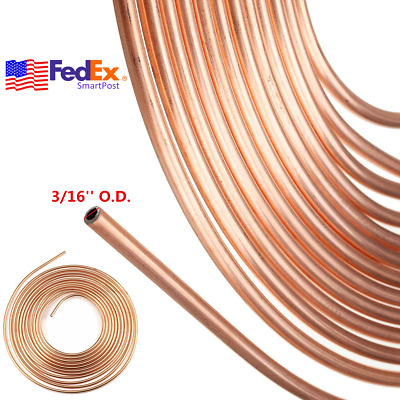 "3//16/"" X 25ft Copper-Plated Brake Tube,Copper Brake Pipe Fuel Pipe,Copper Nickel Brake Line Tubing"