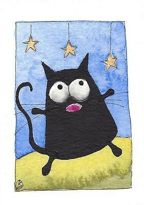 ACEO Original watercolor painting fat black cat - Dancing under the stars
