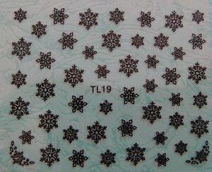Diseno-Negro-Brillo-Copos-De-Nieve-Navidad-3D-Nail-Art-Pegatinas-Calcomanias-T19B