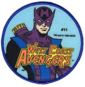 "WEST COAST AVENGERS HAWKEYE 1984 Sew-On Patch MARVEL COMICS Unused NOS Large 4"""