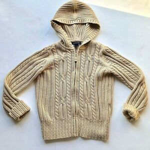 Details about Lands End Tan Cable Knit Sweater Hooded Zippered Girls Small 8