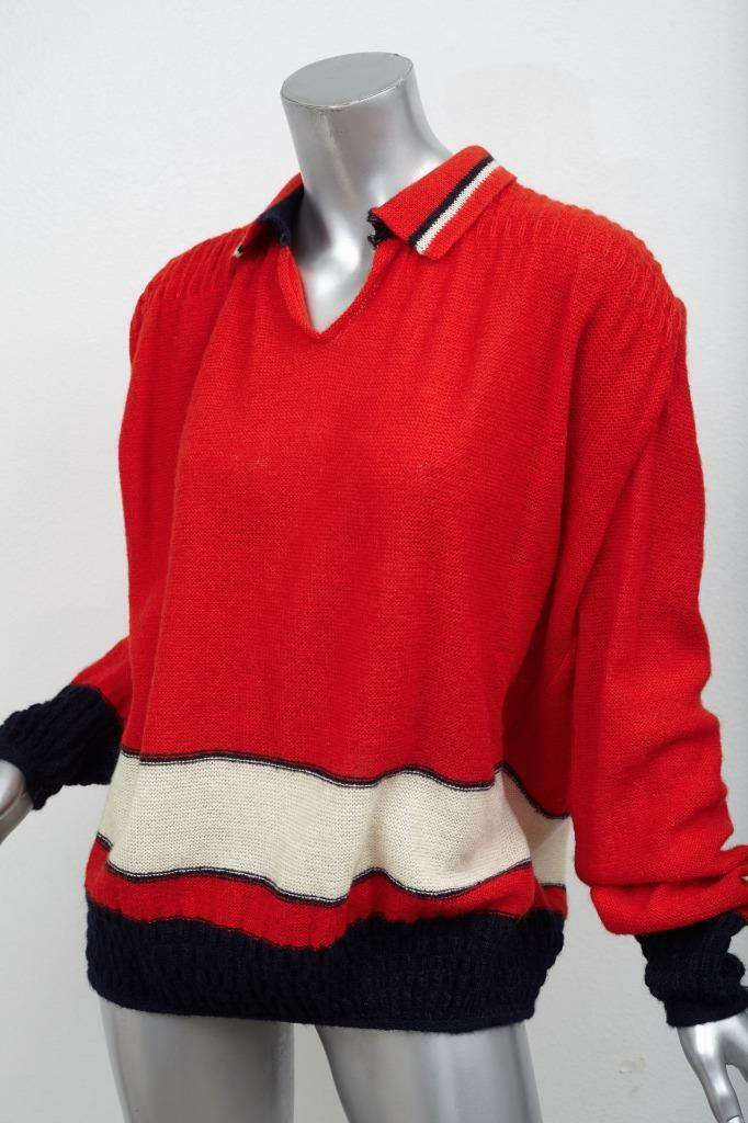 VALENTINO BOUTIQUE VINTAGE Womens Red Striped Collared Oversized Sweater M