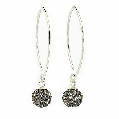 SE0237 Genuine Sterling Silver Grey Crystal Dangly Drop Earring