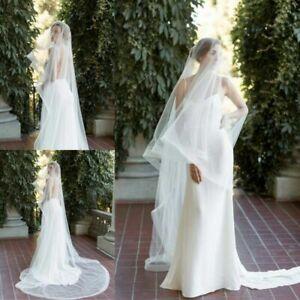 Vintage-Chapel-Length-Wedding-Drop-Veils-1T-no-Comb-Bridal-Veil-Accessories