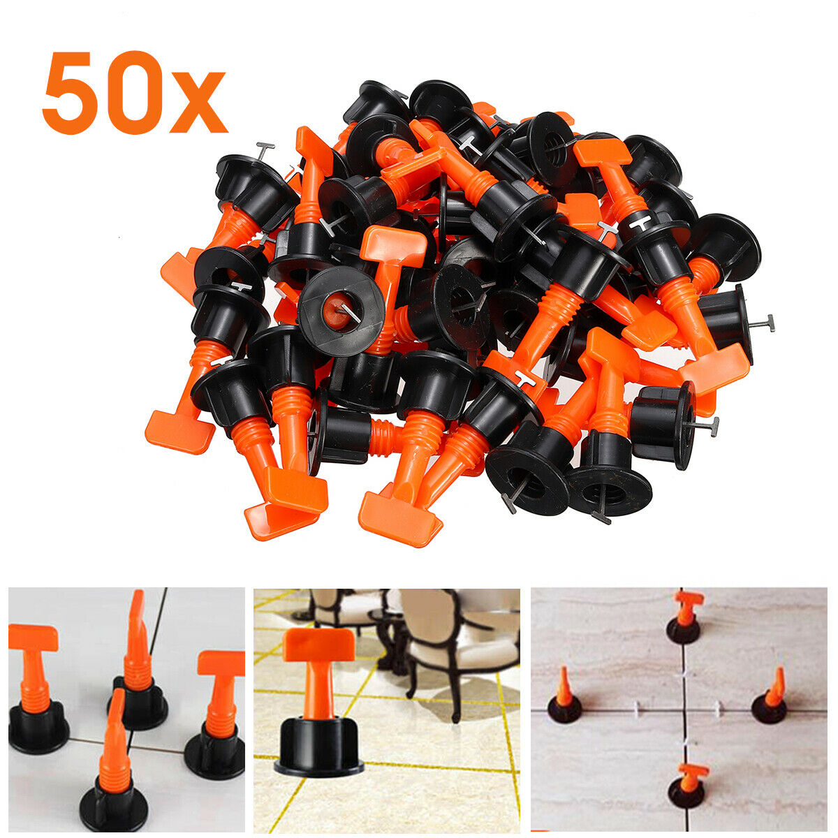 50 200X Flat Ceramic Floor Wall Construction Tools Reusable Tile Leveling System