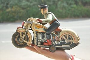 Vintage-MT-Trademark-Litho-Police-Motorcycle-Battery-Tin-Toy-Japan