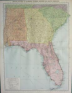 Map Of Florida Georgia South Carolina.Details About 1934 Large Map United States Alabama Florida Georgia South Carolina
