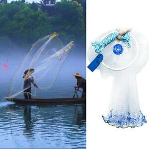 Magic Outdoor Hand Cast Fishing Net Spin Network Easy Throw Bait Mesh 210cm