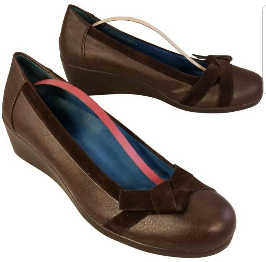 VIONIC ORTHAHEEL WOMAN SHOES WEDGES PLATFORM LOAFERS BROWN SIZE 39.5/   8.5