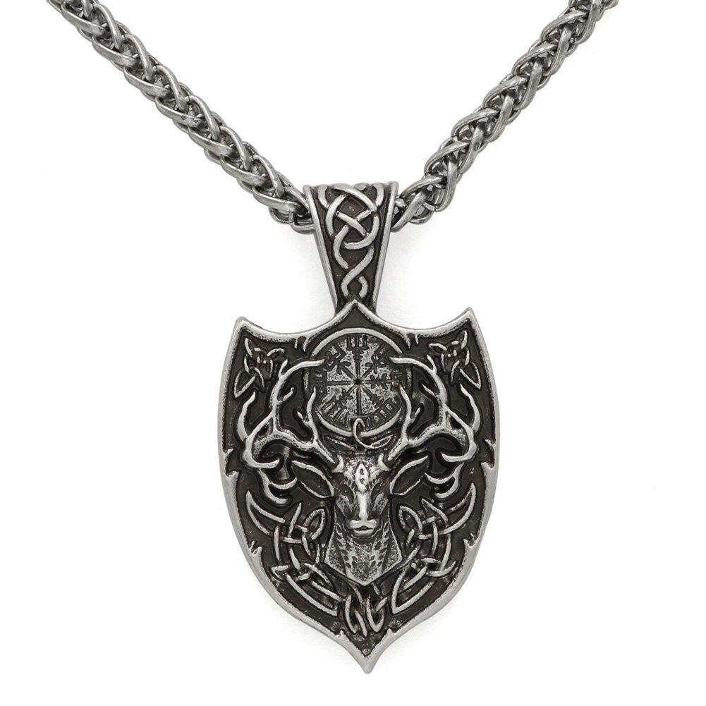 Men Double Side Viking Deer Sekira Legendary Aegishjalmur Amulet Nordic Talisman
