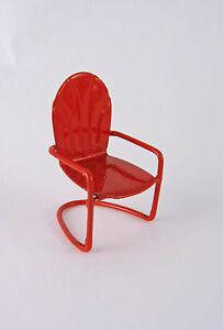 Dollhouse Miniature Garden Small RED Metal Lawn Chair, 17300