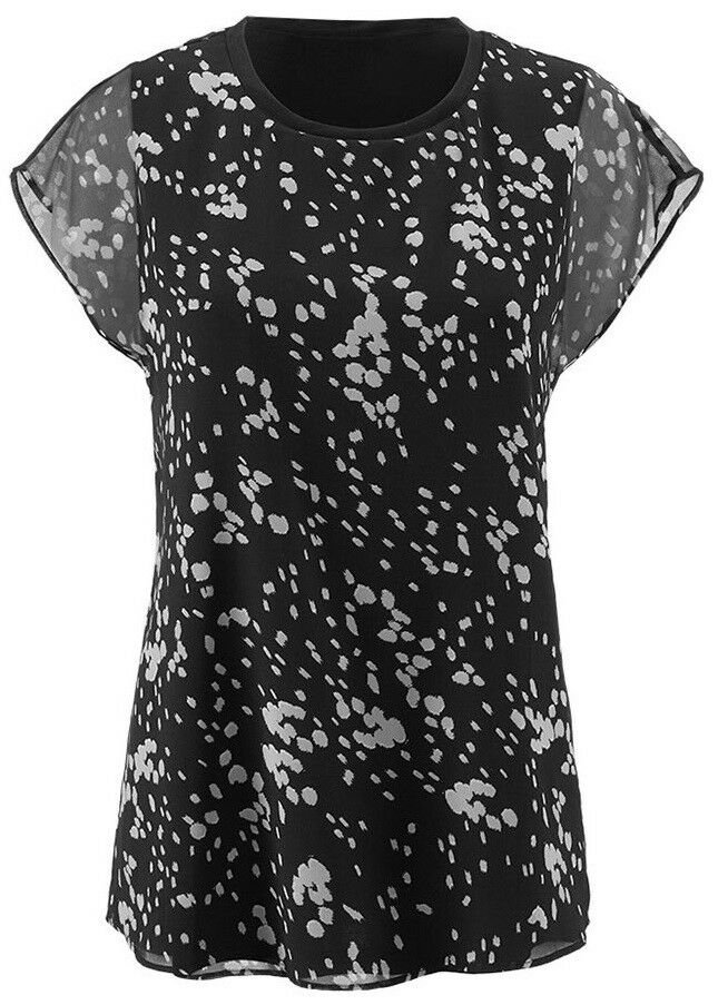 NEW Cabi Cosmos Top Fall 2018, relaxed tee with built in knit tank, Größe L