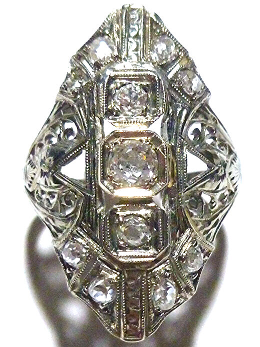STUNNING 18K WHITE gold VICTORIAN NOUVEAU 1.25CT OLD MINE EUROPEAN DIAMOND RING