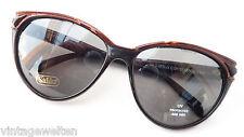 Safilo Sonnenbrille schwarzbraun Acetat dunkle Tönung Butterflyform Frauen sizeL