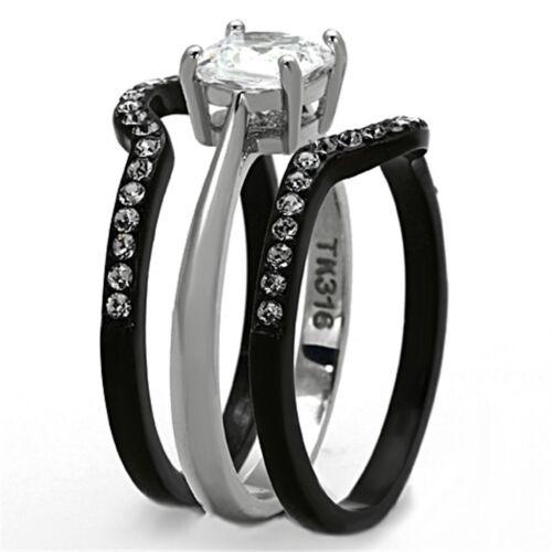 3 PCS Cushion Cut Black Two Tone Stainless Steel Wedding Anniversary Ring Set