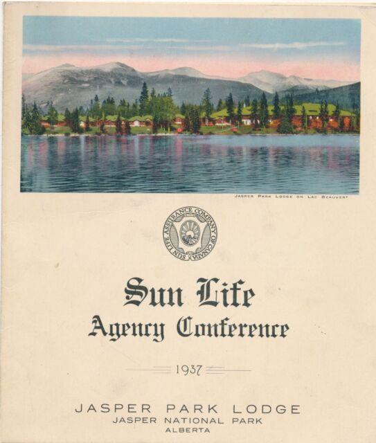 1937 Dinner Menu Jasper Lodge, National Park, Alberta Canada Sun Life Conference