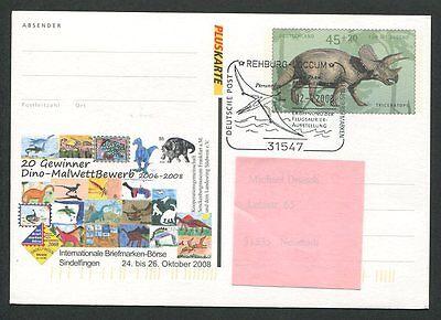 Brd Sonderbeleg 2008 Dinosaurier Dinosaur Prehistory Triceratops H0080