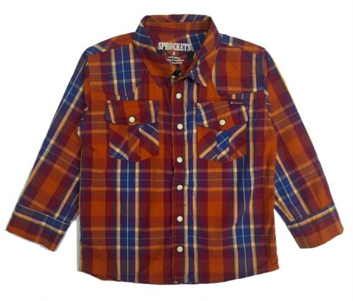 Casual Western Plaid Shirt Boys Long Sleeve Pearl Snap Baby Size 12 Months 2T 7