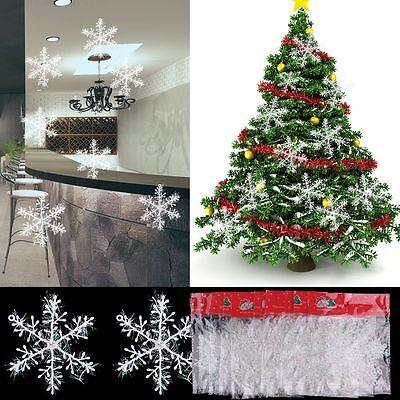 30 Piezas Clásico Copos De Nieve Blancos Adornos Navidad Vacaciones Nuevo