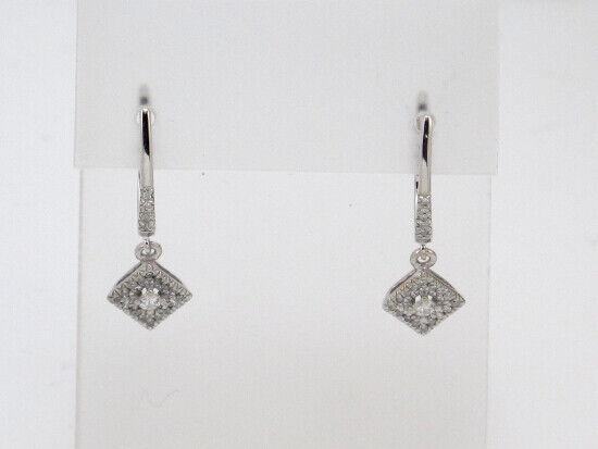 10k White gold Round Diamond Dangle Earrings .52ct