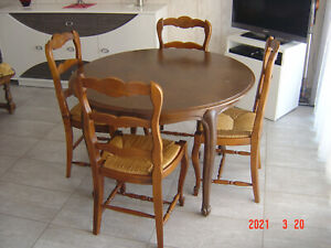 TABLE RONDE (bois massif) avec RALLONGE + 4 CHAISES