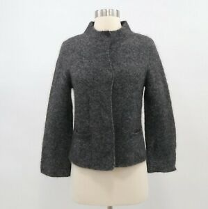 Eileen-Fisher-Cardigan-Sweater-PP-Petite-Gray-Mohair-Wool-Cashmere-NEW-Mock-Neck
