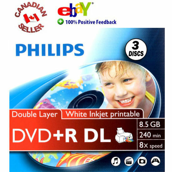 3 Blank Philips DVD+R DL Dual Layer 8X 8.5 GB Discs inkjet printable in sleeves