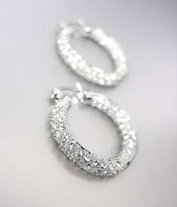 CLASSIC-18kt-White-Gold-Plated-INSIDE-OUTSIDE-Pave-CZ-Crystals-3-4-Hoop-Earrings