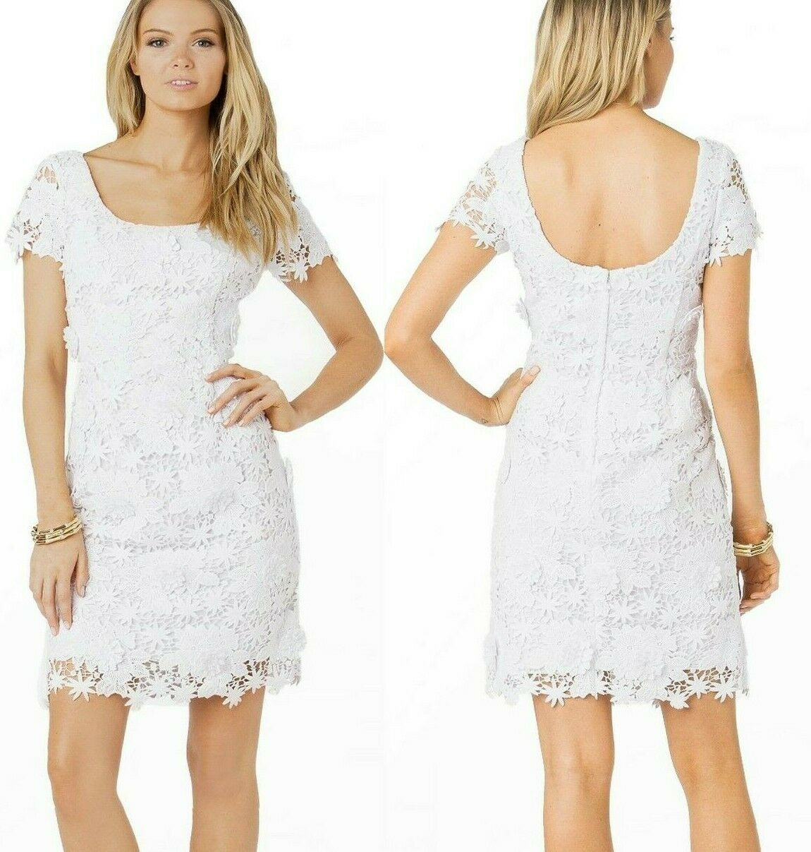 398 Lilly Pulitzer Marta Resort White Truly Truly Truly Floral Lace Dress 07442f