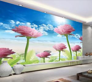 3D Wolken pink Blüten 8 Tapete Wandgemälde Tapete Tapeten Bild Familie DE Summer
