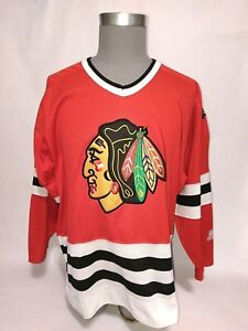 sale retailer c001e e4b73 Details about Vtg 90's Chicago Blackhawks Starter Retro Jersey L NHL  Stitched Red Home Blank