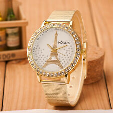 New Womens Crystal Tower Gold Watch Stainless Steel Ladies Mesh Band Wrist Watch