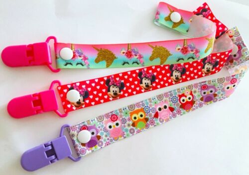 BABY BOYS GIRLS THEMED DUMMY SOOTHER CLIP STRAP PACIFIER CARTOON Set Of 3