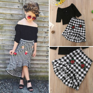 432c1e12f Fashion Toddler Kids Baby Girls Tops T-shirt Plaid Skirt Dress ...