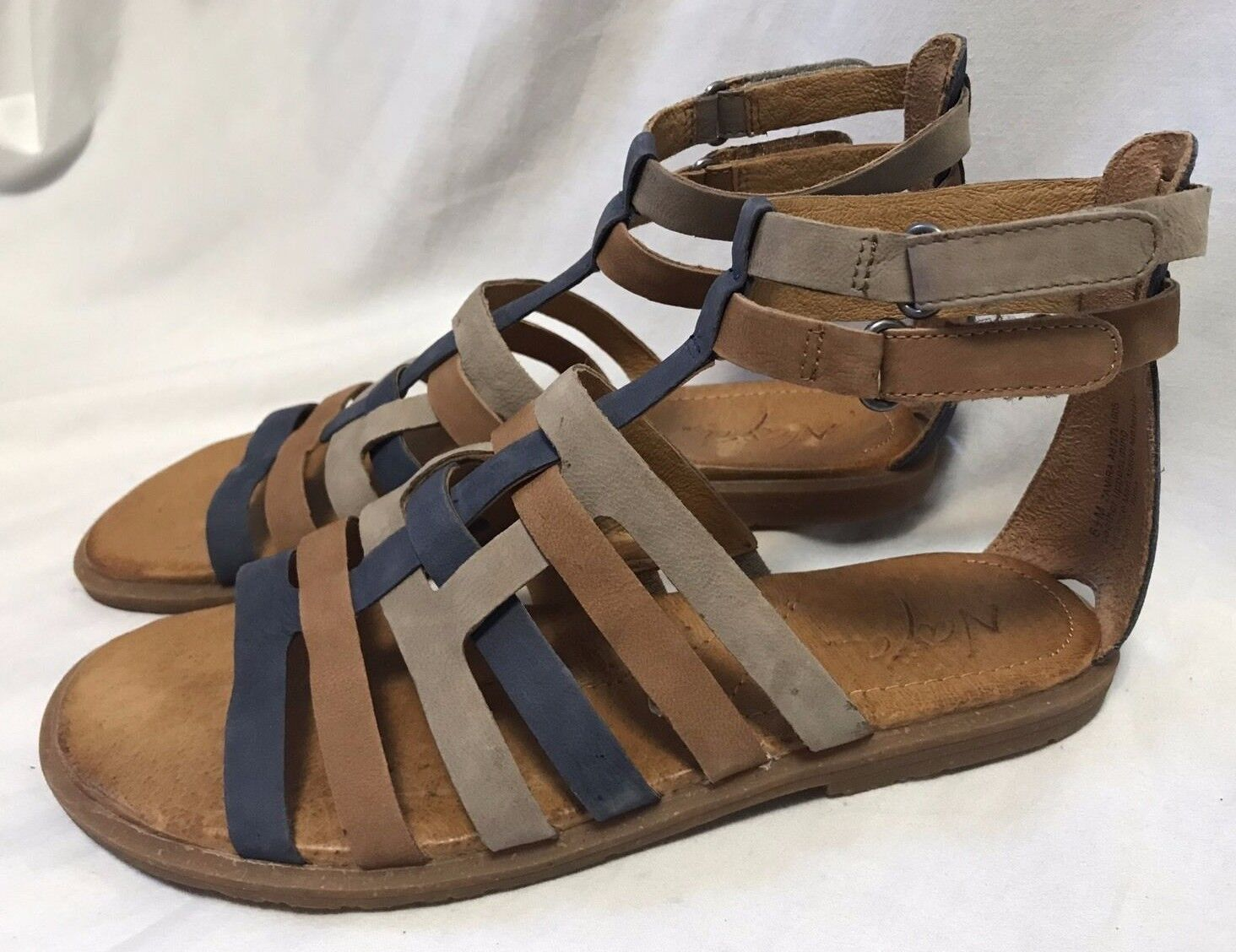 Naya Zamira Gladiator Sandals Women's 6.5M Strappy Suede Leather Flats shoes