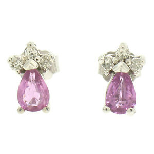 14k-White-Gold-0-42ctw-Pear-Shaped-Pink-Tourmaline-amp-Round-Diamond-Stud-Earrings