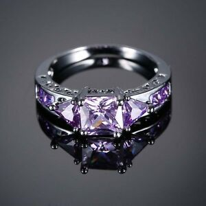 Gift-Jewelry-Cubic-Zironia-Crystal-Black-Gold-Filled-Amethyst-Sapphire-Ring
