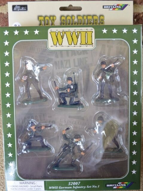 Painted German WWII Infantry Foot Soldiers 1/32 54MM Set W. Britian