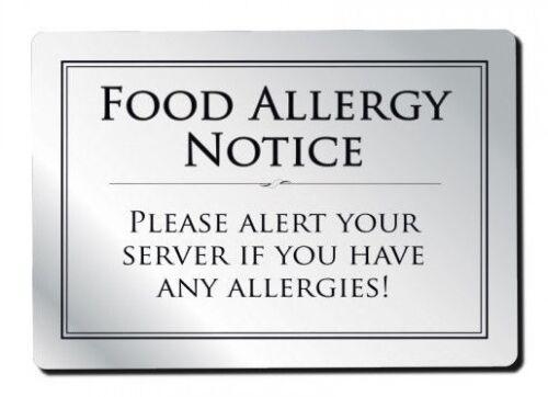 Food Allergy Sign Pub Bar Restaurant Notice Allergen Warning Law Sign