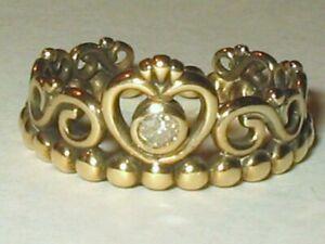 Pandora 18k On Sterling Silver Tiara 4pt Natural Diamond Crown