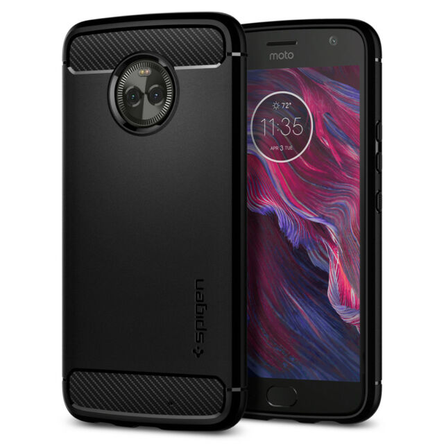 quality design 2bf5d f8dc7 Spigen Rugged Armor Moto X4 Case With Resilient Shock Absorption and Carbon