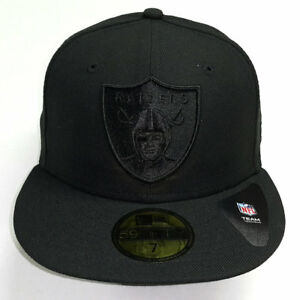 12cbfaa18 New Era NFL Oakland Raiders All Black Shield Logo Fitted Cap 59Fifty ...