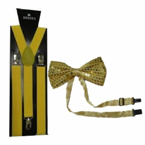 NEW UNISEX FANCY DRESS BRACES AND SEQUIN BOW TIE DICKIE BOW GANGSTER COSTUME SET
